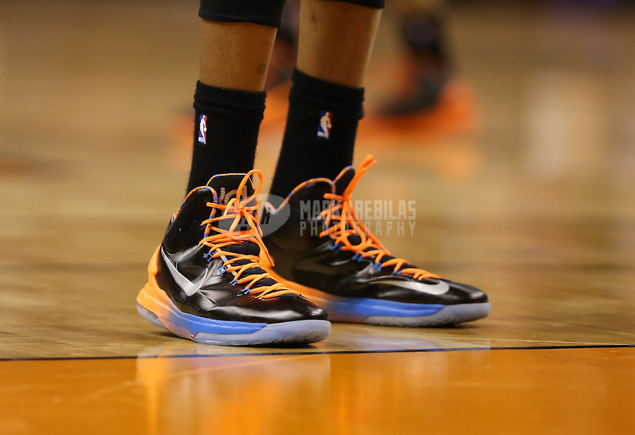 Feb. 10, 2013; Phoenix, AZ, USA: Detailed view of the shoes worn by Oklahoma City Thunder forward Kevin Durant (35) against the Phoenix Suns at the US Airways Center. Mandatory Credit: Mark J. Rebilas-