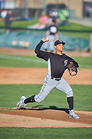 Grand Junction Rockies starting pitcher Anderson Amarista (32) delivers a pitch to the plate against the Ogden Raptors at Lindquist Field on June 15, 2019 in Ogden, Utah. The Raptors defeated the Rockies 12-11. (Stephen Smith/Four Seam Images)