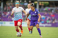Orlando, FL - Saturday July 01, 2017: Julie Ertz, Camila during a regular season National Women's Soccer League (NWSL) match between the Orlando Pride and the Chicago Red Stars at Orlando City Stadium.