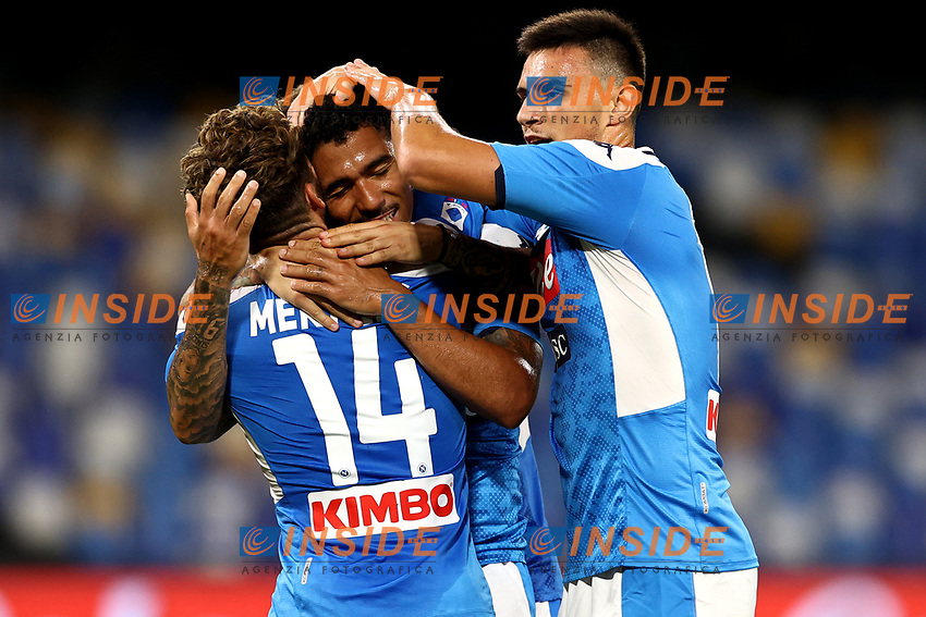Allan of SSC Napoli celebrates with Dries Mertens after scoring the goal of 2-0 during the Serie A football match between SSC Napoli and US Sassuolo at stadio San Paolo in Napoli ( Italy ), July 25th, 2020. Play resumes behind closed doors following the outbreak of the coronavirus disease. <br /> Photo Cesare Purini / Insidefoto