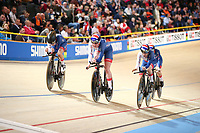 Picture by SWpix.com - 01/03/2018 - Cycling - 2018 UCI Track Cycling World Championships, Day 2 - Omnisport, Apeldoorn, Netherlands - Women's Team Pursuit First Round - Eleanor Dickinson, Katie Archibald, Laura Kenny and Elinor Barker of Great Britain Women's Team Pursuit Qualifying
