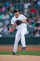 Charlotte Knights starting pitcher Erik Johnson (39) in action against the Durham Bulls at BB&T BallPark on April 14, 2016 in Charlotte, North Carolina.  The Bulls defeated the Knights 2-0.  (Brian Westerholt/Four Seam Images)