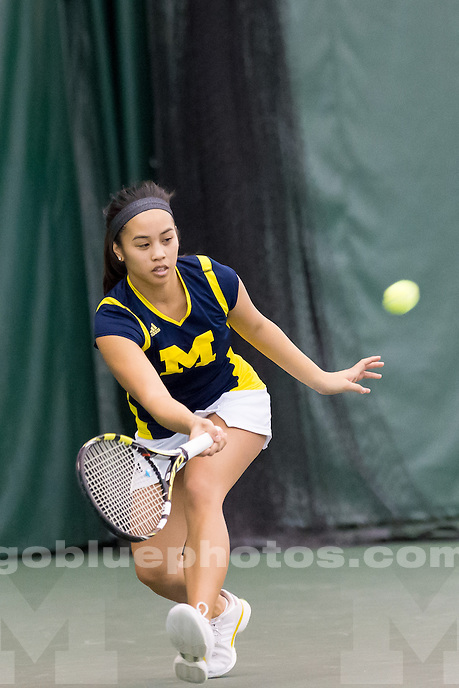 The University of Michigan women's tennis team, 6-1 victory over Tennessee at the Varsity Tennis Center in Ann Arbor, Mich., on Jan. 31, 2015.