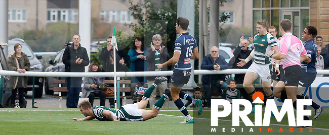 Ealing's Aled Jenkins scores a try during the Greene King IPA Championship match between Ealing Trailfinders and Bedford Blues at Castle Bar , West Ealing , England  on 29 October 2016. Photo by Carlton Myrie / PRiME Media