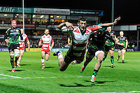 Jonny May of Gloucester Rugby dives over to score the winning try during the European Rugby Challenge Cup semi final match between Gloucester Rugby and Exeter Chiefs at Kingsholm Stadium on Saturday 18th April 2015 (Photo by Rob Munro)