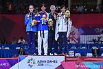 (L-R) Mannopova Madinabonu (UZB), Wongpattanakit Panipak (THA), Kiyanichandeh Nahid (IRI), Miyu Yamada (JPN), <br /> AUGUST 23, 2018 - Taekwondo : Women's -49kg Victory ceremony at Jakarta Convention Center Plenary Hall during the 2018 Jakarta Palembang Asian Games in Jakarta, Indonesia. <br /> (Photo by MATSUO.K/AFLO SPORT)