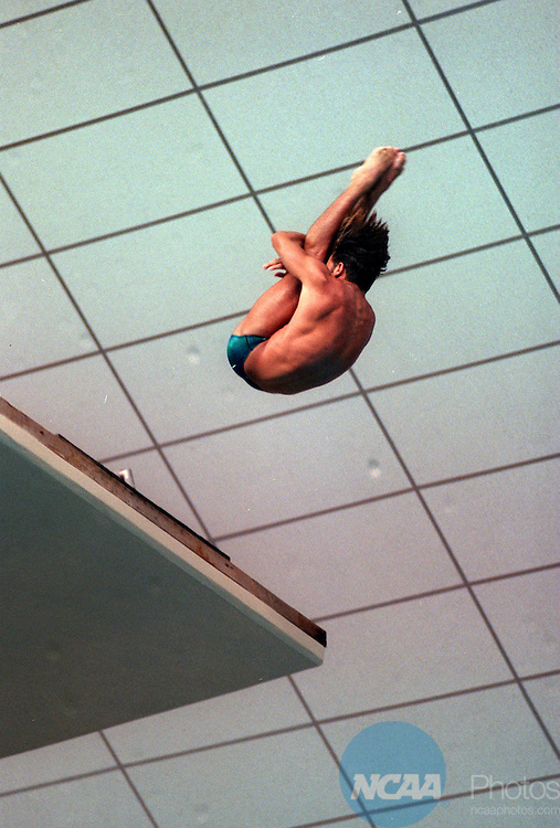Caption: 30 MAR 1996: Bryan Gillooly of the University of Miami dove into first place in the platform diving competition during the Division 1 Men's Swimming Championships at the Jamail Texas Swim Center â??University of Texas at Austin. Bob Daemmrich/NCAA Photos