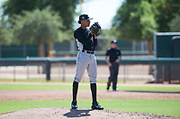 Chicago White Sox relief pitcher Wilber Perez (43) looks in for the sign during an Instructional League game against the Kansas City Royals at Camelback Ranch on September 25, 2018 in Glendale, Arizona. (Zachary Lucy/Four Seam Images)