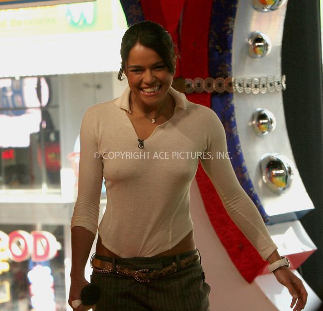WWW.ACEPIXS.COM . . . . . ....NEW YORK, MAY 4 , 2006....MICHELLE RODRIGUEZ makes a guest appearance at TRL Studios.....Please byline: NANCY RIVERA - ACEPIXS.COM.. . . . . . ..Ace Pictures, Inc:  ..(212) 243-8787 or (646) 679 0430..e-mail: picturedesk@acepixs.com..web: http://www.acepixs.com