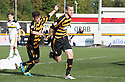 Alloa's Stephen Simmons celebrates after he scores their goal.