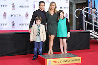HOLLYWOOD, CA - DECEMBER 03: Quinlin Stiller, Ben Stiller, Christine Taylor, Ella Stiller attending the Ben Stiller Hand/Footprint Ceremony held at TCL Chinese Theatre on December 3, 2013 in Hollywood, California. (Photo by David Acosta/Celebrity Monitor)