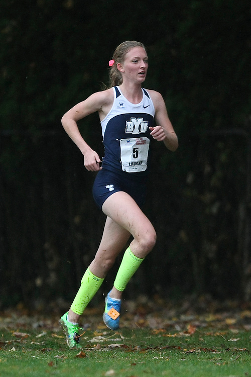 October 27, 2012; Portland, OR, USA; BYU Cougars runner Michaelanne Laurent (5) during the WCC Cross Country Championships at Fernhill Park.