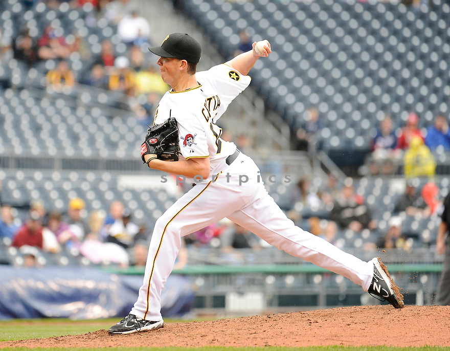 MIKE CROTTA, of the Pittsburgh Pirates, in action during the Pirates game against the Washington Nationals, on April 24, 2011 at PNC Park in Pittsburgh, Pennsylvania.  The Nationals beat the Pirates 6-3.