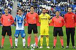 League Santander 2017-2018 - Game: 24.<br /> RCD Espanyol vs Villarreal CF: 1-1.<br /> Victor Sanchez &amp; Mario Gaspar, posando con los colegiados del encuentro.