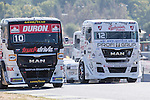 Monegasque driver Ellen Lohr belonging German team Truck Sport Lutz Bernau and Czech driver Frantisek Vojtisek belonging Czech team Czech Truck Racing Team during the super pole SP1 of the XXX Spain GP Camion of the FIA European Truck Racing Championship 2016 in Madrid. October 01, 2016. (ALTERPHOTOS/Rodrigo Jimenez)