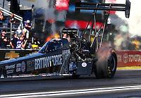Feb 6, 2015; Pomona, CA, USA; NHRA top fuel driver Brittany Force during qualifying for the Winternationals at Auto Club Raceway at Pomona. Mandatory Credit: Mark J. Rebilas-