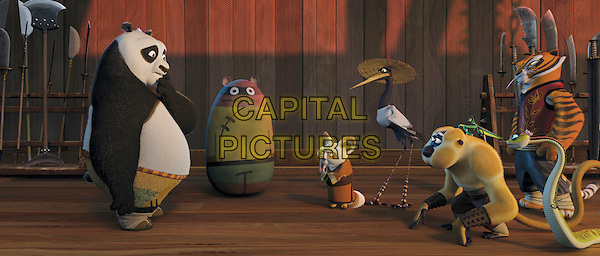PO (voiced by Jack Black), SHIFU (voiced by Dustin Hoffman), MASTER CRANE (voiced by David Cross), MASTER MONKEY (voiced by Jackie Chan), MASTER MANTIS (voiced bySeth Rogen), MASTER VIPER (voiced by Lucy Liu) & MASTER TIGRESS (voiced by Angelina Jolie).in Kung Fu Panda.*Filmstill - Editorial Use Only*.CAP/PLF.Supplied by Capital Pictures.