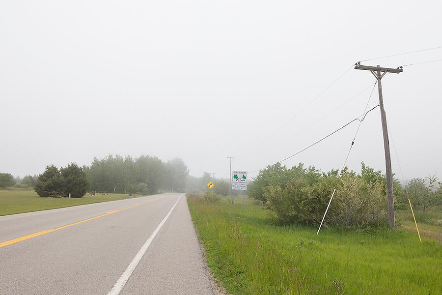 Country road on Old Mission Peninsula, Lake Michigan, Traverse City area, Michigan, MI, USA
