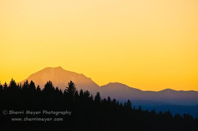 Sunset on Mount Lassen, Northern California.