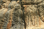 """Israel, Upper Galilee, the """"Man in the wall"""" on the cliff overlooking Nahal Kziv"""