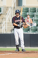Brett Austin (10) of the Kannapolis Intimidators at bat against the Asheville Tourists at CMC-NorthEast Stadium on July 13, 2014 in Kannapolis, North Carolina.  The Tourists defeated the Intimidators 8-2.  (Brian Westerholt/Four Seam Images)