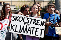 Greta Thunberg during her speech on the stage<br /> Rome April 19th 2019. Fridays for Future Climate Strike in Rome, Piazza del Popolo.<br /> photo di Samantha Zucchi/Insidefoto