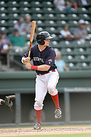Catcher Charlie Madden (3) of the Greenville Drive bats in Game 1 of a doubleheader against the Hickory Crawdads on Wednesday, July 25, 2018, at Fluor Field at the West End in Greenville, South Carolina. Greenville won, 4-1. (Tom Priddy/Four Seam Images)