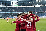 09.02.2019, HDI Arena, Hannover, GER, 1.FBL, Hannover 96 vs 1. FC Nuernberg<br /> <br /> DFL REGULATIONS PROHIBIT ANY USE OF PHOTOGRAPHS AS IMAGE SEQUENCES AND/OR QUASI-VIDEO.<br /> <br /> im Bild / picture shows<br /> Jubel 2:0, Nicolai M&uuml;ller / Mueller (Neuzugang Hannover 96 #21) bejubelt seinen zweiten Treffer im Spiel mit Jonathas De Jesus (Hannover 96 #09) und Teamkollegen,  <br /> <br /> Foto &copy; nordphoto / Ewert