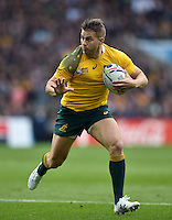 Drew Mitchell of Australia in possession. Rugby World Cup Quarter Final between Australia and Scotland on October 18, 2015 at Twickenham Stadium in London, England. Photo by: Patrick Khachfe / Onside Images