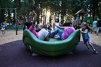 Children playing on merry go round at sunset, Dottie Harper Park, Burien, Washington State, WA, America, USA.