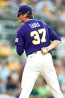 LSU Tigers pitcher Ryan Eades #37 in the stretch against the Mississippi State Bulldogs during the NCAA baseball game on March 17, 2012 at Alex Box Stadium in Baton Rouge, Louisiana. The 10th-ranked LSU Tigers beat #21 Mississippi State, 4-3. (Andrew Woolley / Four Seam Images).