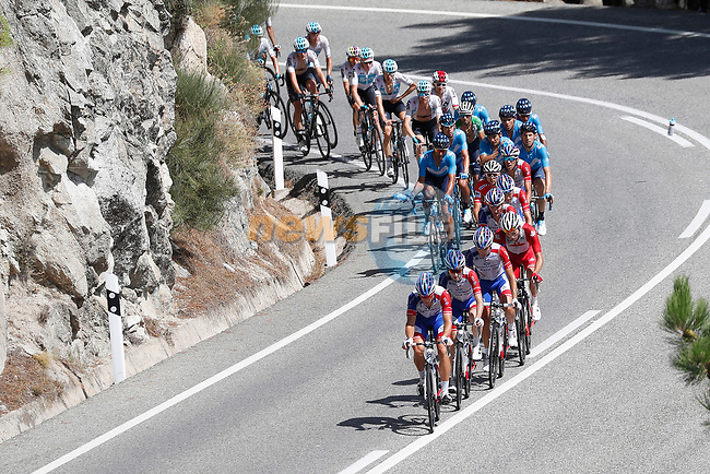 The peloton led by Groupama-FDJ in action during Stage 9 of the La Vuelta 2018, running 200.8km from Talavera de la Reina to La Covatilla, Spain. 2nd September 2018.<br /> Picture: Unipublic/Photogomezsport | Cyclefile<br /> <br /> <br /> All photos usage must carry mandatory copyright credit (© Cyclefile | Unipublic/Photogomezsport)