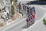 The peloton led by Groupama-FDJ in action during Stage 9 of the La Vuelta 2018, running 200.8km from Talavera de la Reina to La Covatilla, Spain. 2nd September 2018.<br /> Picture: Unipublic/Photogomezsport | Cyclefile<br /> <br /> <br /> All photos usage must carry mandatory copyright credit (&copy; Cyclefile | Unipublic/Photogomezsport)