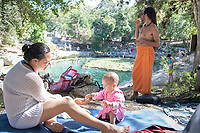 Eunice Adorno, her daughter Emiliana, and Nicola Okin enjoying a break from our workshop at the Dzibilchaltun cenote and archeological site with friends. Yucatan, Mexico