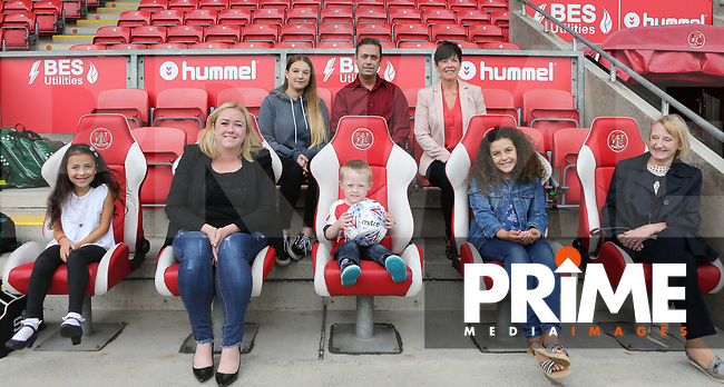 Fleetwood Town Match Ball Sponsors ahead of the Sky Bet League 1 match between Fleetwood Town and Rochdale at Highbury Stadium, Fleetwood, England on 18 August 2018. Photo by Stephen Gaunt / PRiME Media Images.