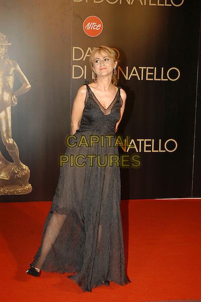 LUCIANA LETTIZZETTO.David di Donatello Italian Awards at the Gran Teatro di Tor di Quinto, Rome, Italy, 14th June 2007..full length black dress .CAP/CAV.©Luca Cavallari/Capital Pictures.