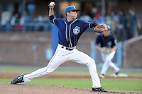 Asheville Tourists starting pitcher Shane Broyles #32 delivers a pitch during a game against the Rome Braves  at McCormick Field on May 23, 2013 in Asheville, North Carolina. The Braves won the game 6-1. (Tony Farlow/Four Seam Images).