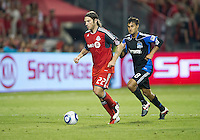 27 August 2011: Toronto FC midfielder Torsten Frings #22 and San Jose Earthquakes forward Chris Wondolowski #8 in action during a game between the San Jose Earthquakes and Toronto FC at BMO Field in Toronto..The game ended in a 1-1 draw.