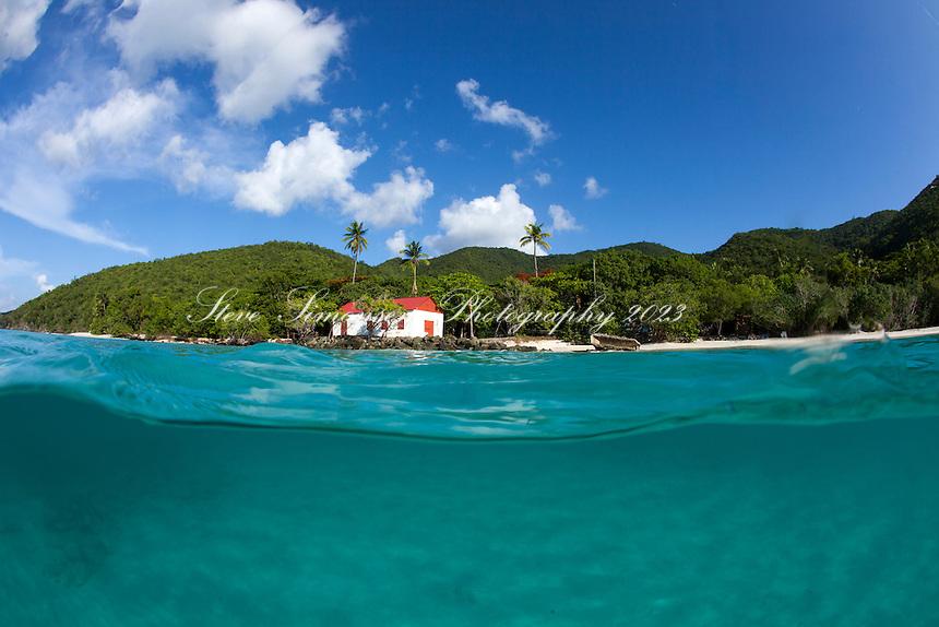 Split level view of Cinnamon Bay<br /> Virgin Islands National Park<br /> St. John, U.S. Virgin Islands