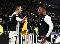 Calcio, Serie A: Juventus - Parma, Turin, Allianz Stadium, January 19, 2020.<br /> Juventus' Cristiano Ronaldo (l) celebrates after scoring his first goal in the match with his teammate Danilo (r) during the Italian Serie A football match between Juventus and Parma at the Allianz stadium in Turin, January 19, 2020.<br /> UPDATE IMAGES PRESS/Isabella Bonotto
