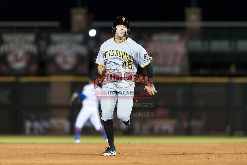 Surprise Saguaros first baseman Will Craig (45), of the Pittsburgh Pirates organization, hustles towards third base during an Arizona Fall League game against the Scottsdale Scorpions at Scottsdale Stadium on October 15, 2018 in Scottsdale, Arizona. Surprise defeated Scottsdale 2-0. (Zachary Lucy/Four Seam Images)
