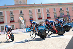 WNT Rotor Pro Cycling Team power off the start ramp during Stage 1 of the Madrid Challenge by La Vuelta, a team time trial running 12.6km from Boadilla del Monte to Boadilla del Monte, Spain. 15th September 2018.                   <br /> Picture: Unipublic/Vicent Bosch | Cyclefile<br /> <br /> <br /> All photos usage must carry mandatory copyright credit (&copy; Cyclefile | Unipublic/Vicent Bosch)