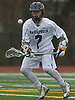 Garrett Gibbons #7 of Massapequa looks to corral a bounced pass during a Nassau County varsity boys lacrosse game against Farmingdale at Massapequa High School on Friday, April 27, 2018. Massapequa won by a score of 7-4.