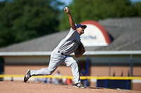 Mahoning Valley Scrappers pitcher Leandro Linares (35) delivers a pitch during the first game of a doubleheader against the Batavia Muckdogs on July 2, 2015 at Dwyer Stadium in Batavia, New York.  Batavia defeated Mahoning Valley 4-1.  (Mike Janes/Four Seam Images)
