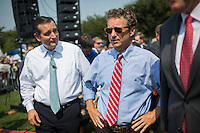 "Sen. Rand Paul (KY) and Sen. Ted Cruz (TX) attend an  ""Exempt America from Obamacare"" Tea Party rally on Capitol Hill in Washington."