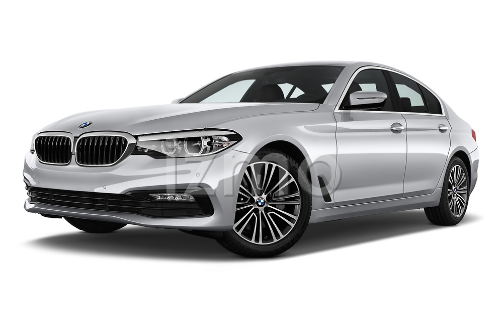 Stock pictures of low aggressive front three quarter view of a 2018 BMW 5 Series 530i 2WD 4 Door Sedan