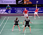 Wales' Sarah Thomas, right, with team-mate Oliver Gwilt <br /> <br /> Photographer Chris Vaughan/Sportingwales<br /> <br /> 20th Commonwealth Games - Day 6 - Tuesday 29th July 2014 - Badminton - Emirates Arena including the Sir Chris Hoy Velodrome - Glasgow - UK