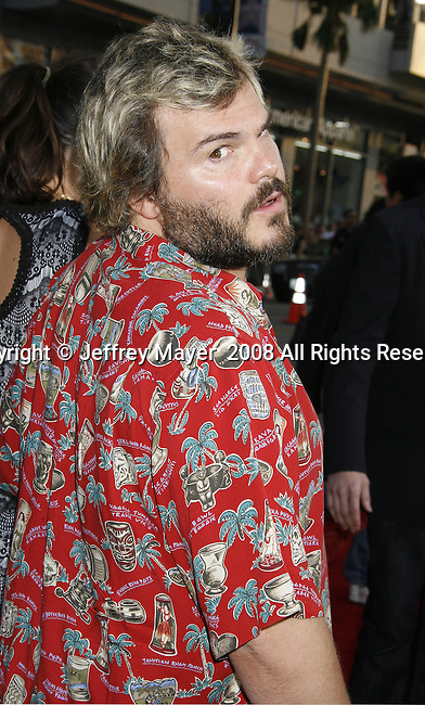"Actor Jack Black arrives to the ""Iron Man"" premiere at Grauman's Chinese Theatre on April 30, 2008 in Hollywood, California."