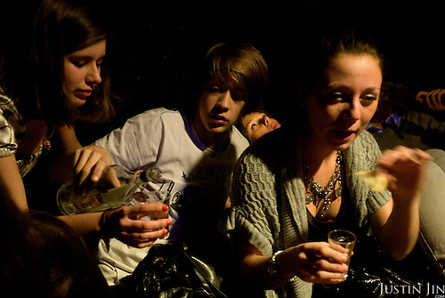 Youngsters party and drink vodka at the RnB Nightclub in Moscow