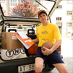 Nelson Maniscalco, ecuadoregno, ritratto sul lavoro mentre consegna pacchi. <br /> Ecuadorian football player in Balon Mundial, tournament for immigrants living in Piedmont.